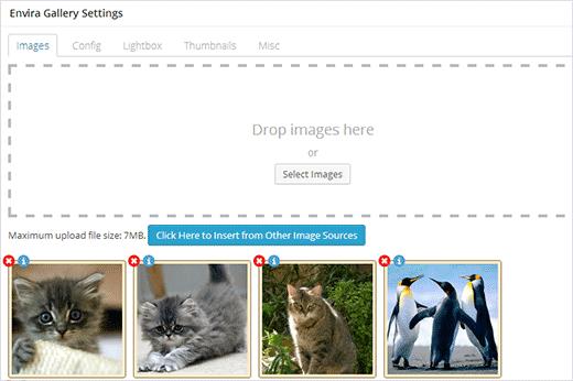 Выбор и импорт новых изображений для создания адаптивной галереи для сайта