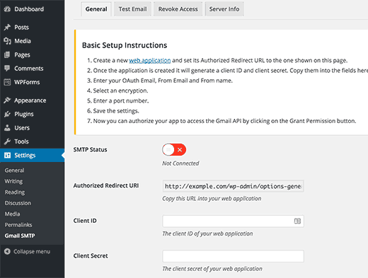 Настройка опций плагина Gmail SMTP
