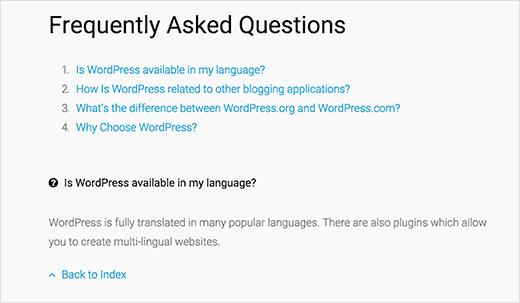 Отображение блока частых вопросов в виде списка