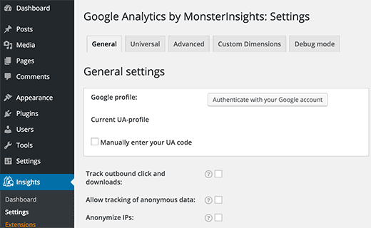 Настройка Google Analytics через плагин MonsterInsights