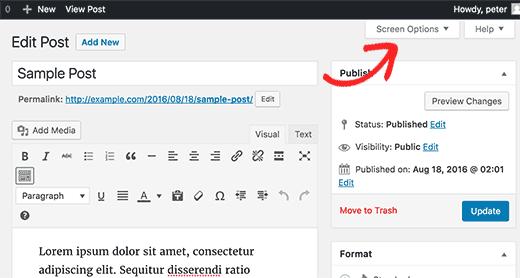 Кнопка настройки экрана в админке блога