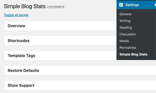 Настройка плагина simple blog stats