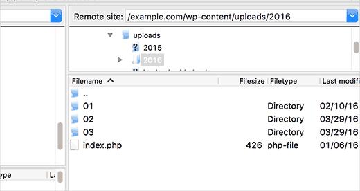 Просмотр папки uploads через ftp клиент