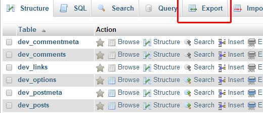Нажимаем кнопку экспорта базы данных из phpMyAdmin