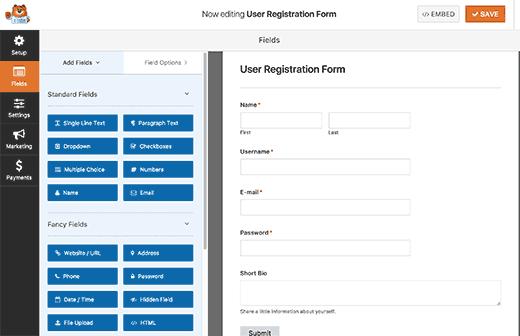 Конструктор полей формы регистрации в плагине WPForms
