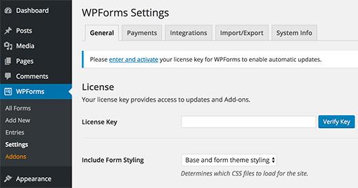Работа с плагином WPForms