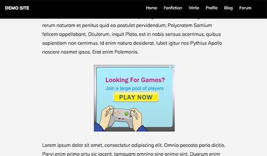 Отображение рекламного блока на сайте в браузере