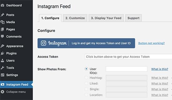 Окно с настройками плагина Instagram Feed