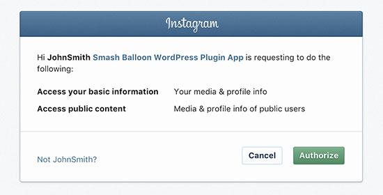 Авторизация с вашим аккаунтом в Instagram