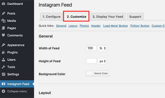Дополнительные настройки плагина Instagram Feed