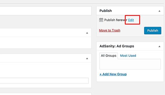 Публикация блока с рекламой в специальный тип записи
