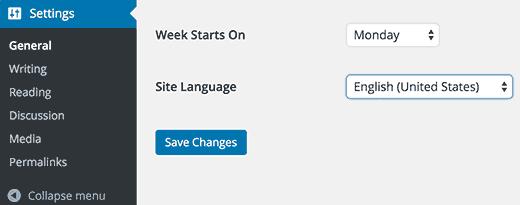 Языковые настройки WordPress после установки