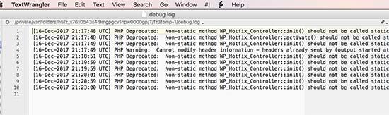Зарегистрированные ошибки в журнале debug.log