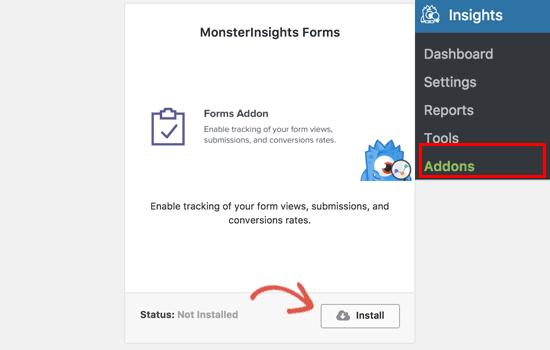 Установка Forms Addon для плагина Monsterinsight