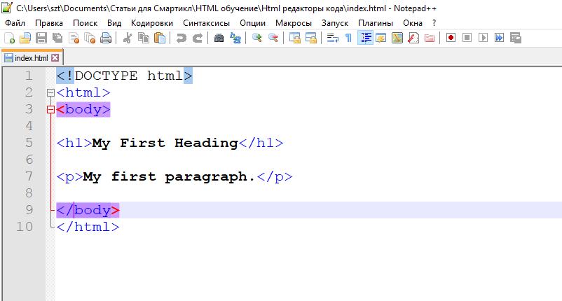 Интерфейс работы программы текстового редактора Notepad++