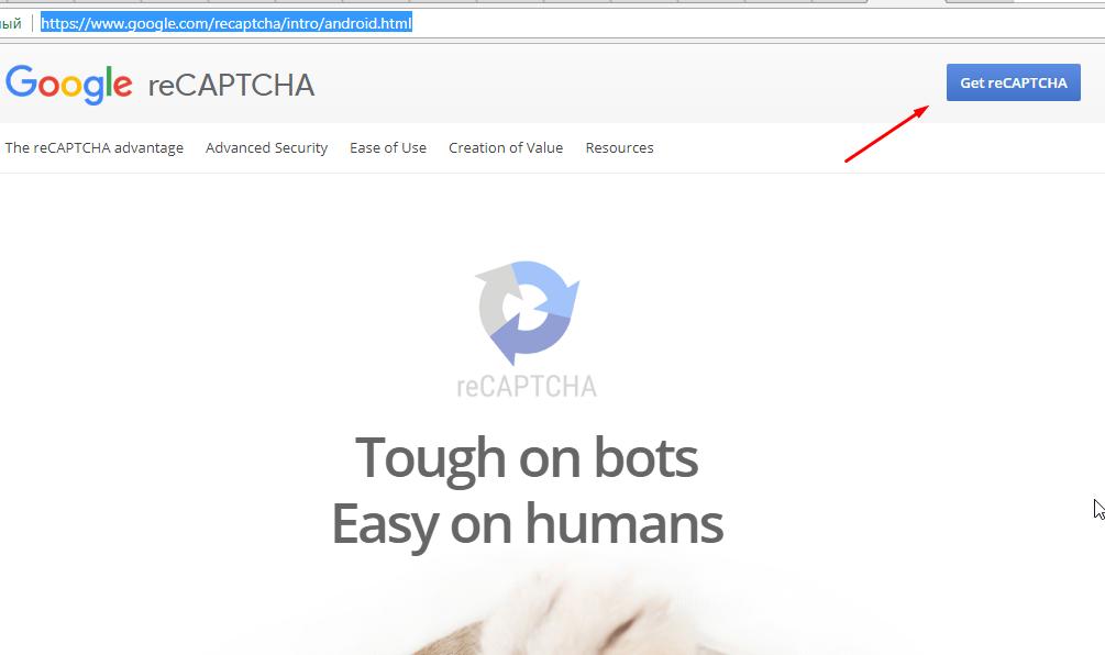 Получение ключа по API с помощью сервиса Google reCaptcha