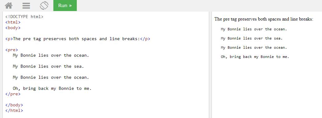 Использование html тега pre