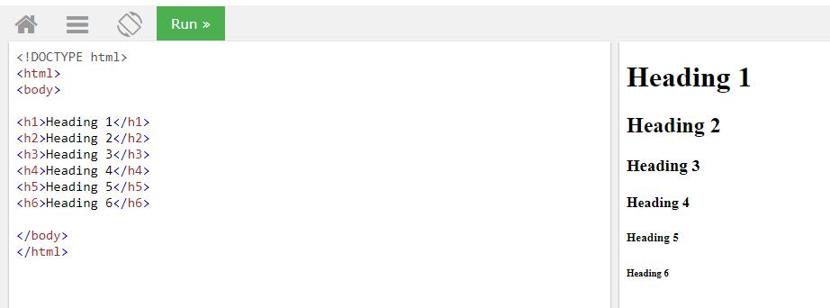 Пример простых HTML заголовков