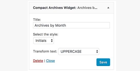 Добавление виджета плагина Compact Archives в сайдбар
