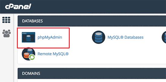 Через панель хостинга входим в phpMyAdmin