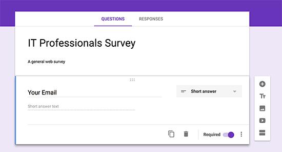Добавление полей формы в Google Forms