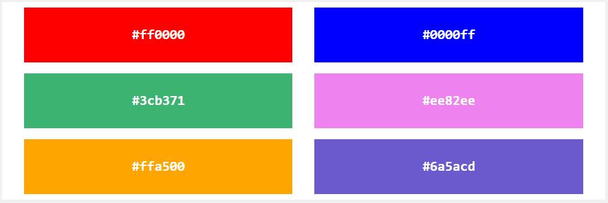 HEX значения цветов в HTML