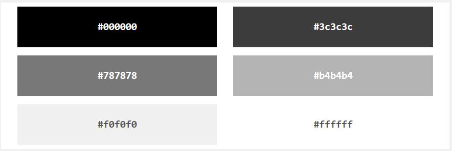 Оттенки серого в системе HEX в HTML