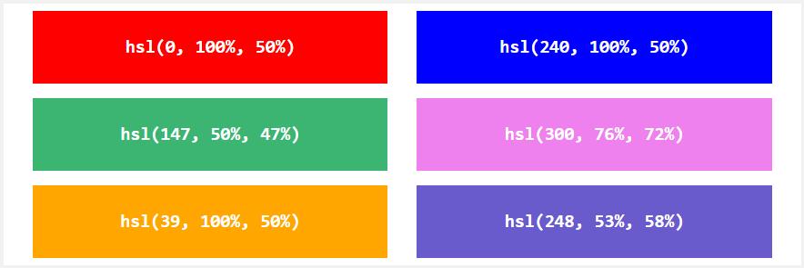 Систем HSL в определении цветов в HTML