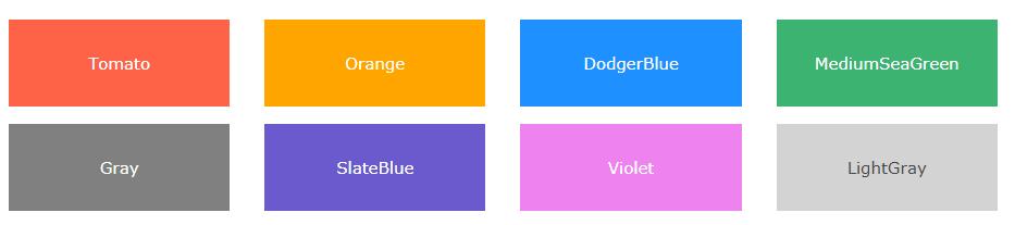 Имена, названия цветов в html