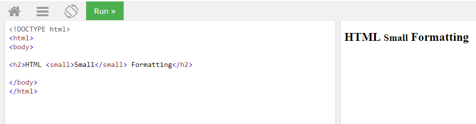 HTML элемент форматирования small