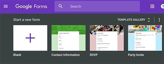 Создание новой формы в Google