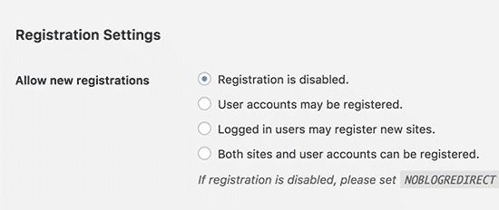 Открытие мультисайта для регистрации