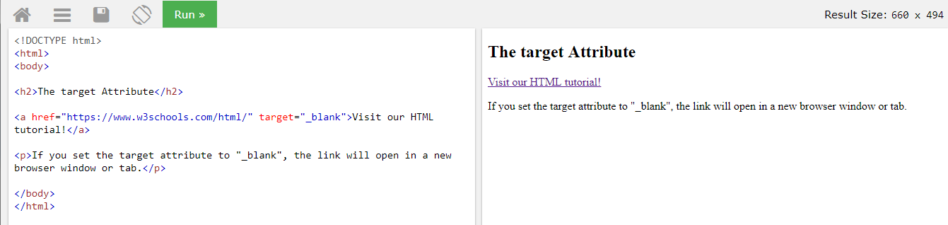 Атрибут цель у html ссылки - в примере ссылка откроется в новом окне