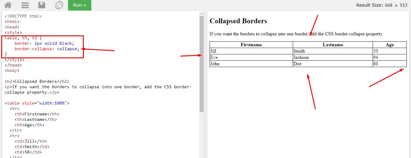 Border-collapse свойство для границы html таблиц в CSS