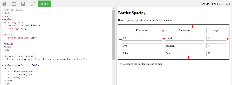 Задаем межграничный интервал border-spacing