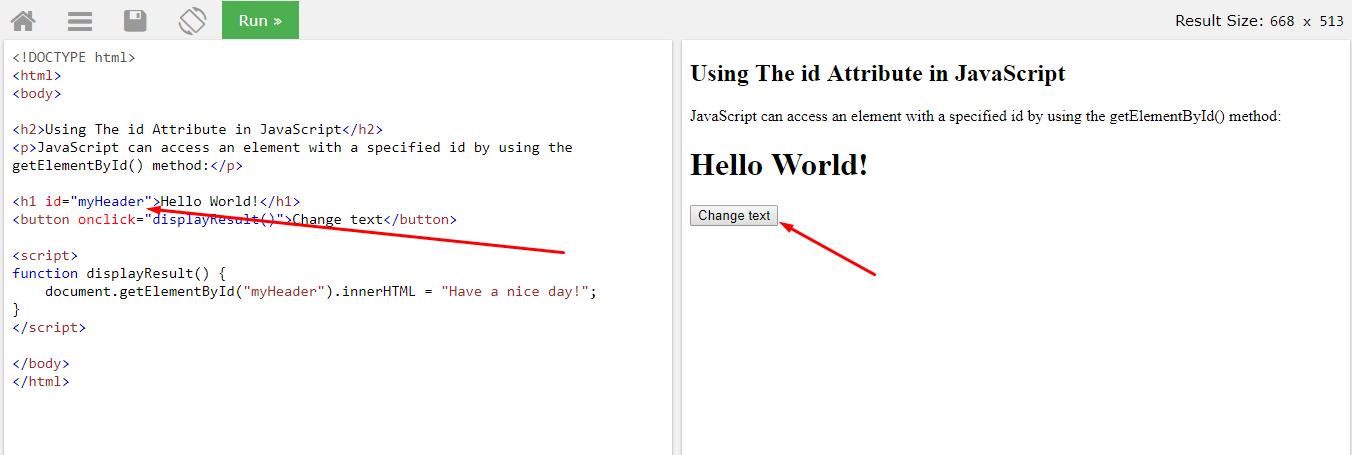 Пример использования атрибута id в Javascript