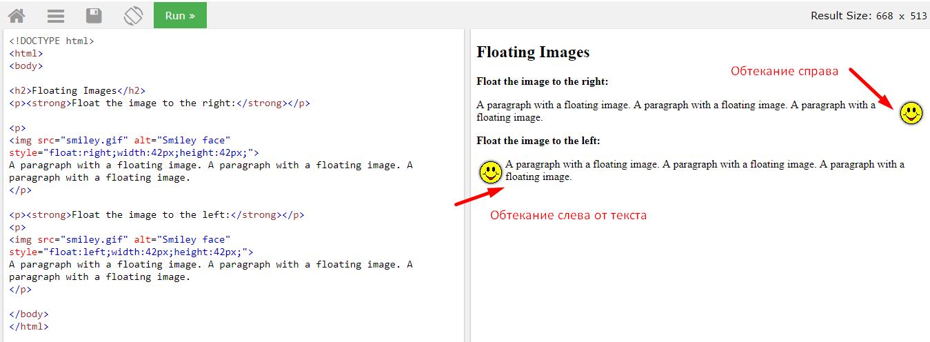 Обтекание картинки текстом с помощью свойства float