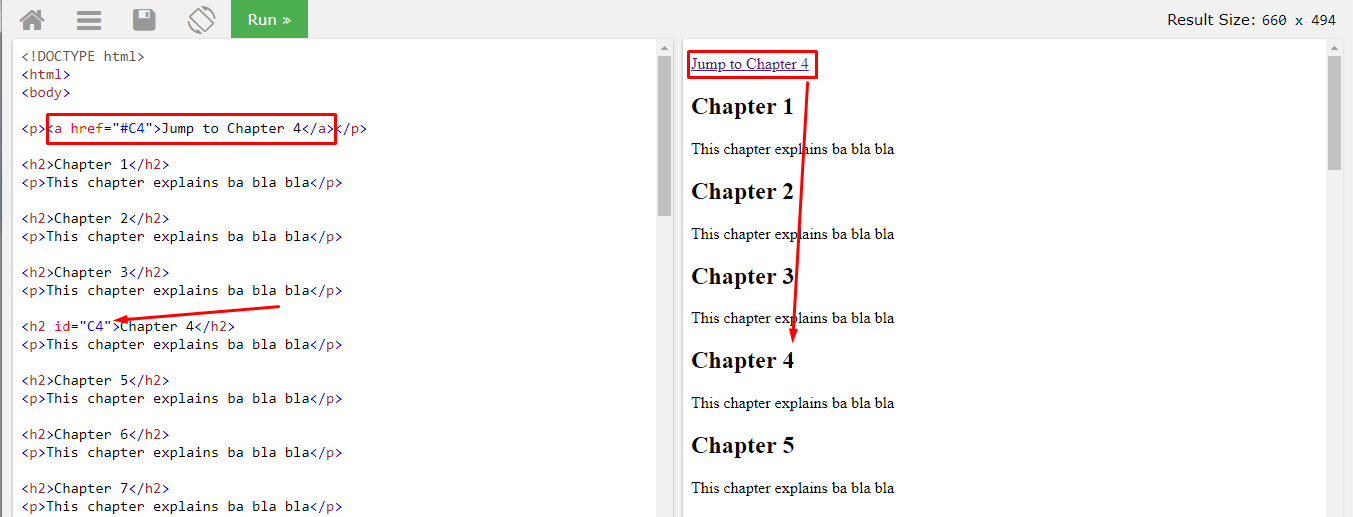 Создание html ссылок закладок в документе