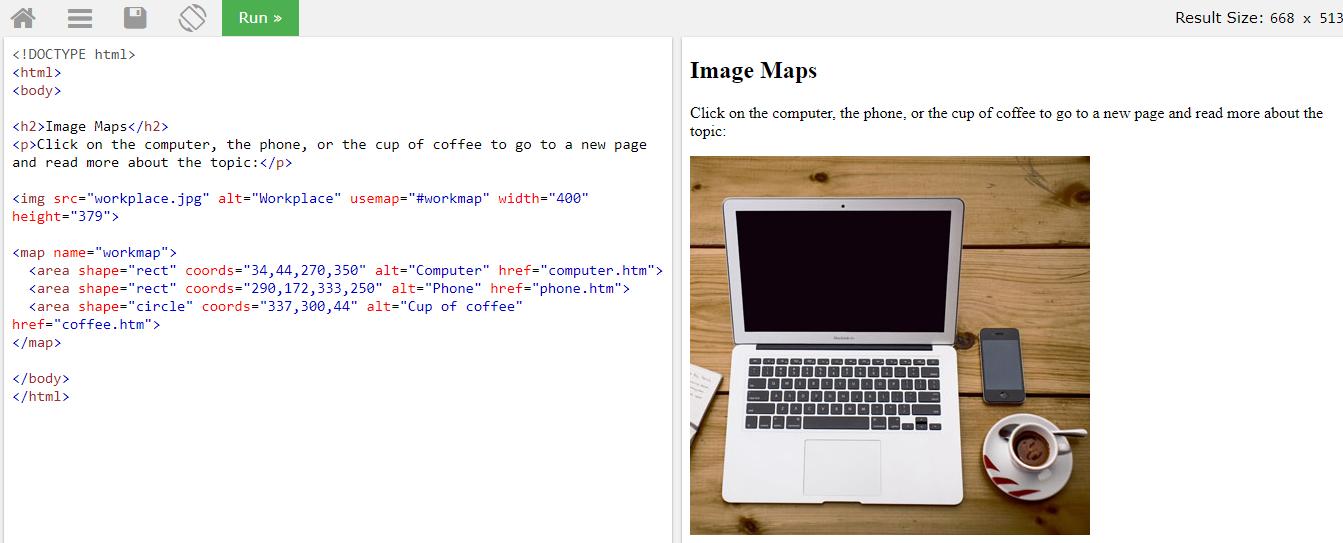 Карта изображения с помощью тега map