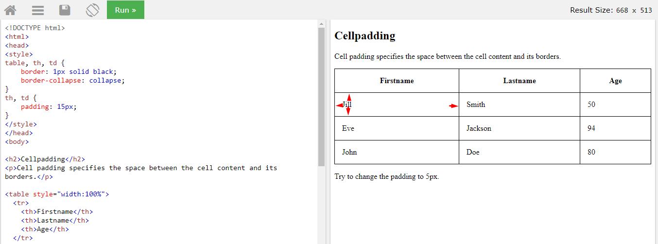 Отступ padding внутри ячейки таблицы html