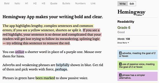 Hemingway - сервис проверки грамматических ошибок
