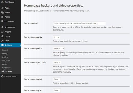 Настройка параметров плагина фонового видео
